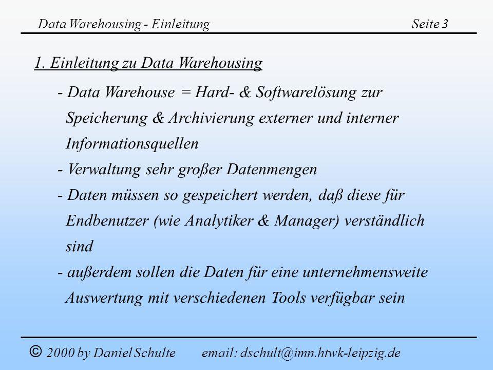1. Einleitung zu Data Warehousing