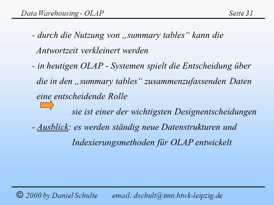 """- durch die Nutzung von """"summary tables kann die"""