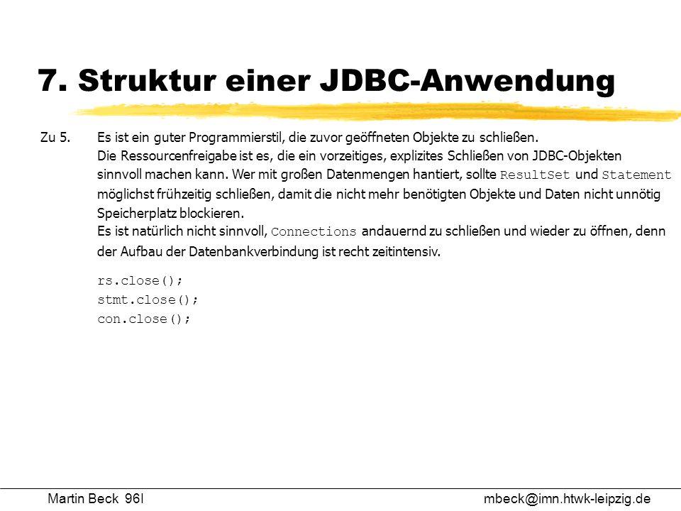 7. Struktur einer JDBC-Anwendung