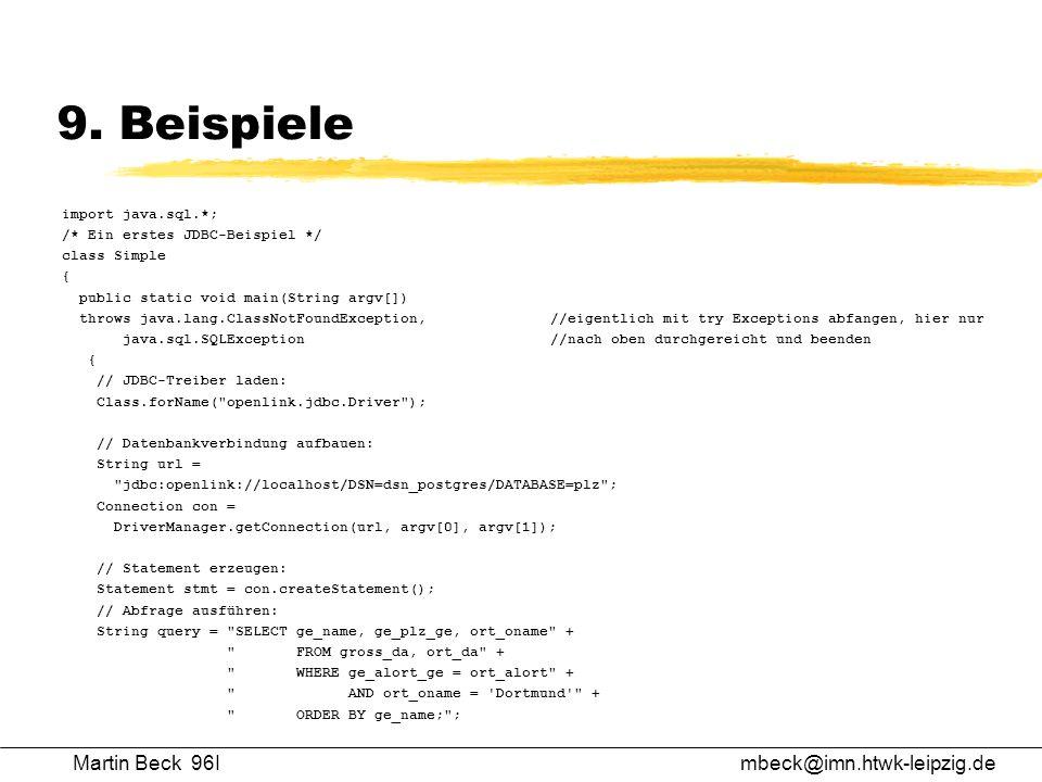 9. Beispiele Martin Beck 96I mbeck@imn.htwk-leipzig.de