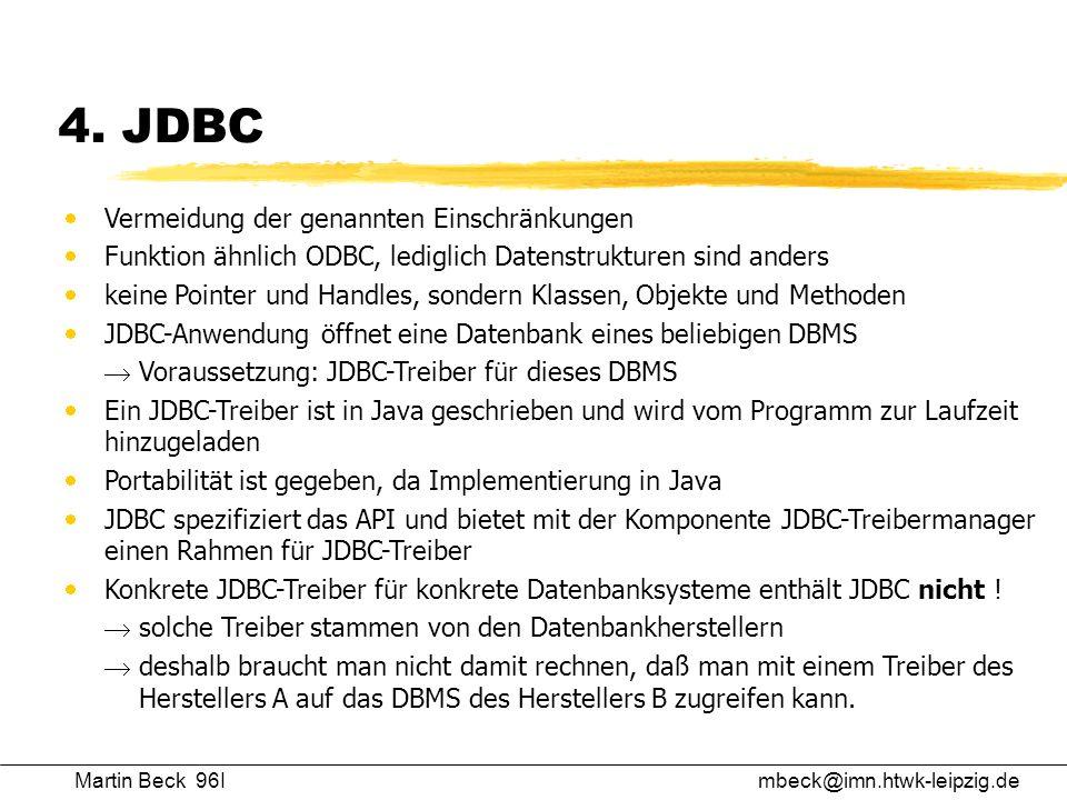 4. JDBC Vermeidung der genannten Einschränkungen
