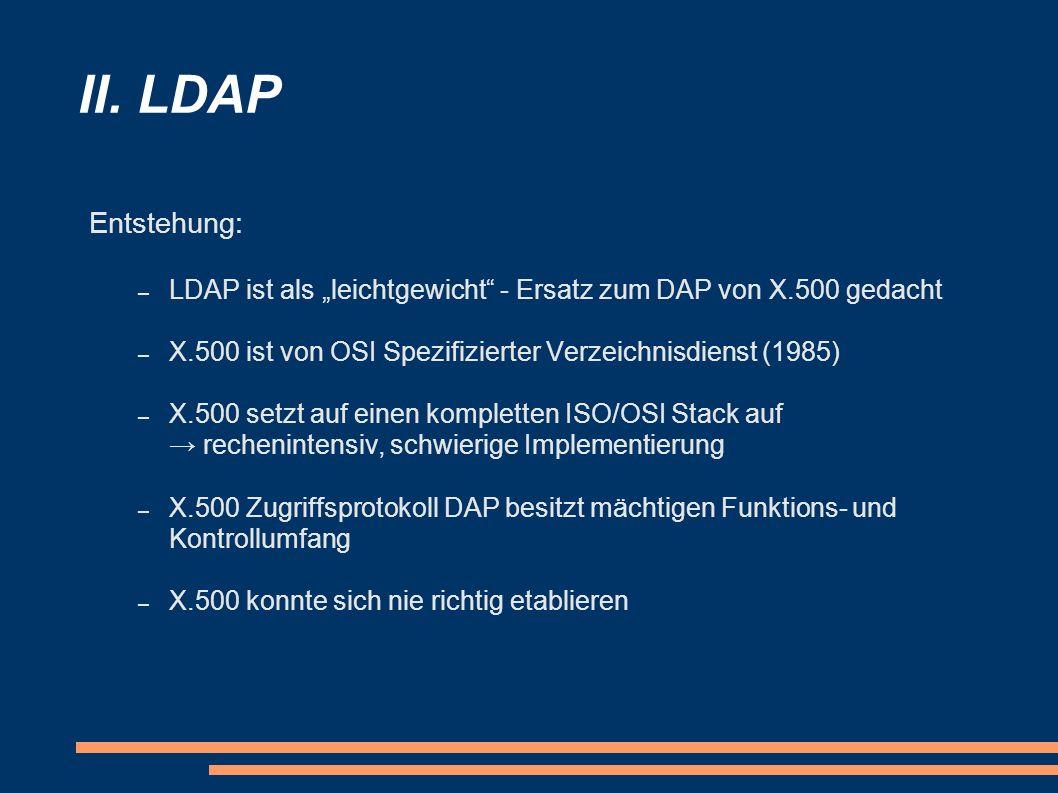 """II. LDAP Entstehung: LDAP ist als """"leichtgewicht - Ersatz zum DAP von X.500 gedacht. X.500 ist von OSI Spezifizierter Verzeichnisdienst (1985)"""