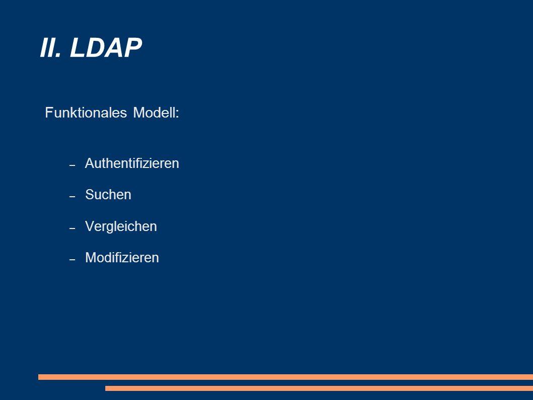 II. LDAP Funktionales Modell: Authentifizieren Suchen Vergleichen