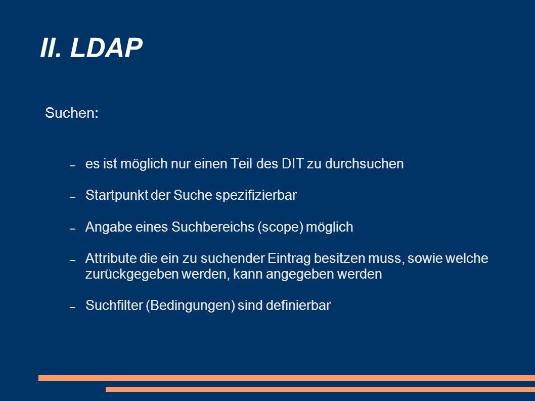 II. LDAP Suchen: es ist möglich nur einen Teil des DIT zu durchsuchen