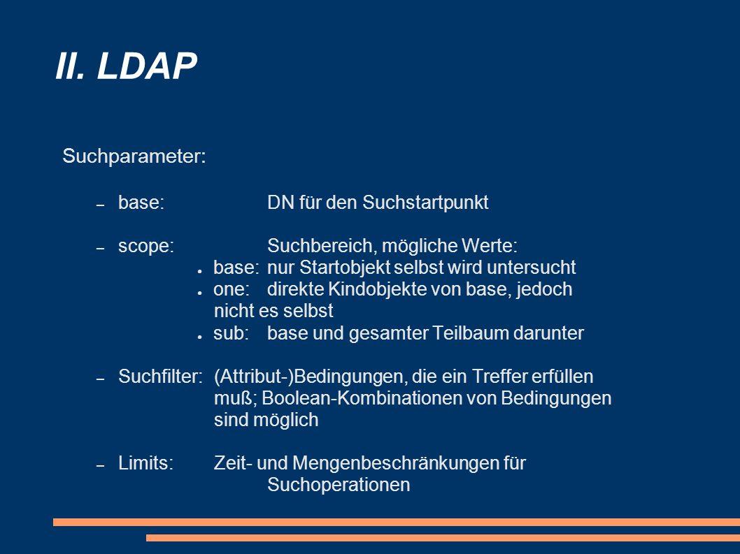 II. LDAP Suchparameter: base: DN für den Suchstartpunkt