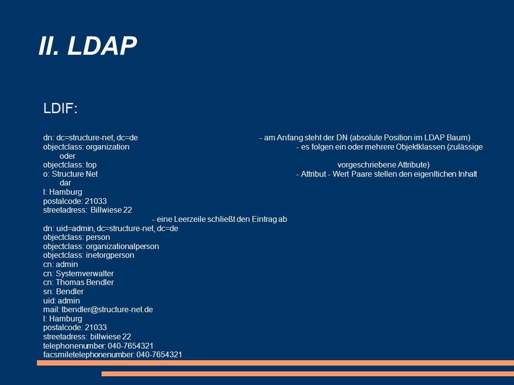II. LDAP LDIF: dn: dc=structure-net, dc=de - am Anfang steht der DN (absolute Position im LDAP Baum)
