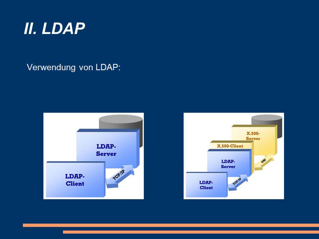 II. LDAP Verwendung von LDAP: