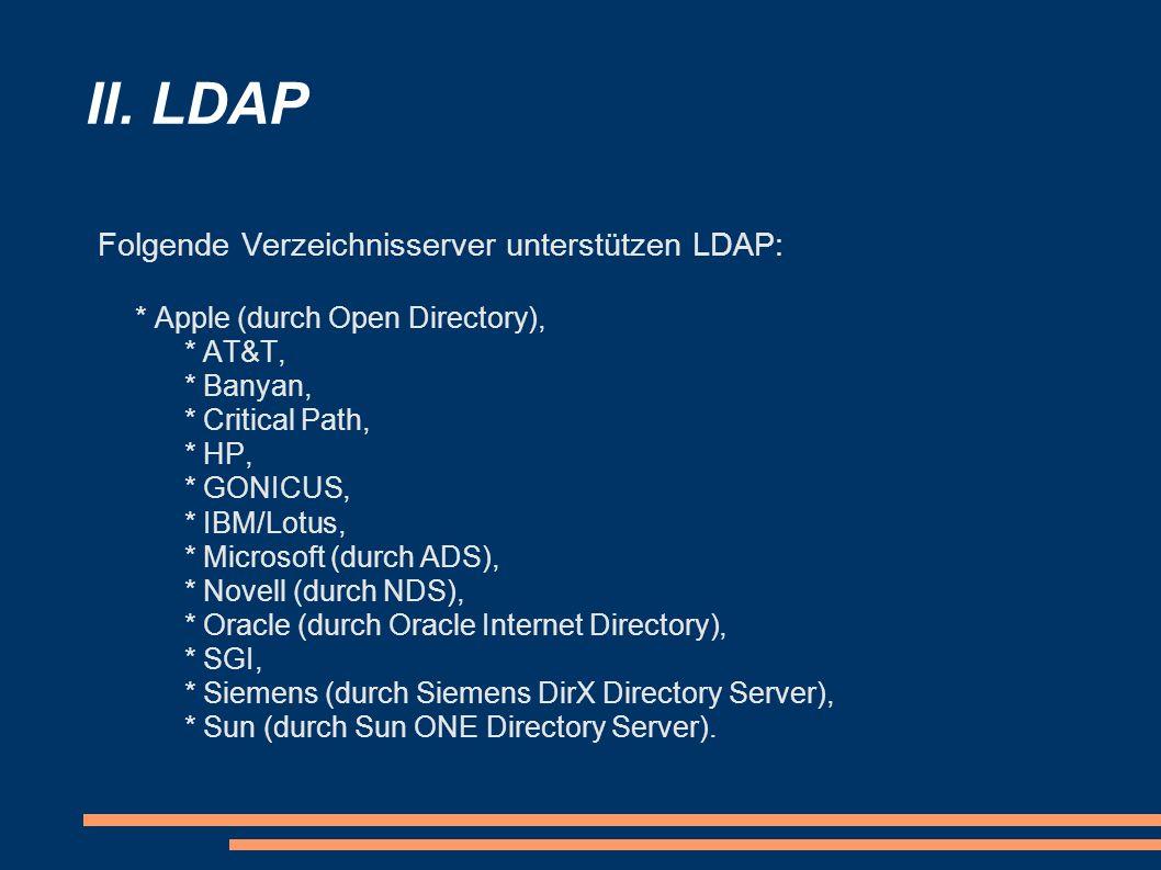 II. LDAP Folgende Verzeichnisserver unterstützen LDAP: