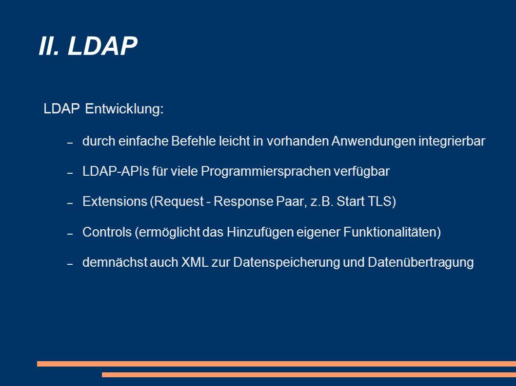 II. LDAP LDAP Entwicklung:
