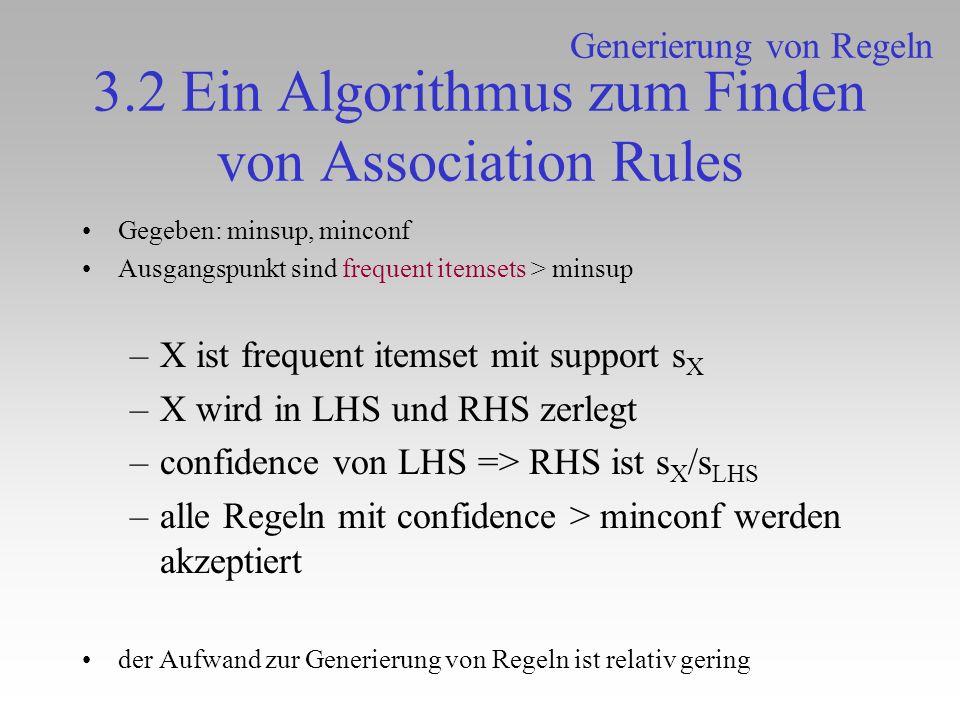 3.2 Ein Algorithmus zum Finden von Association Rules