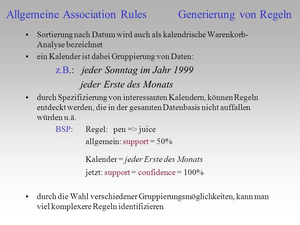 Allgemeine Association Rules Generierung von Regeln