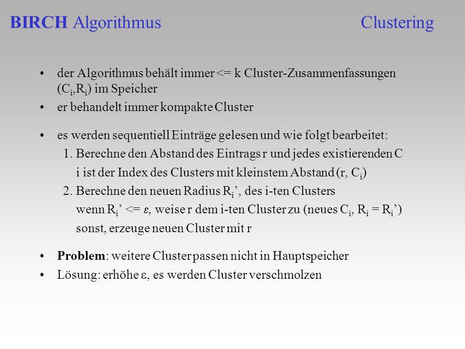 BIRCH Algorithmus Clustering