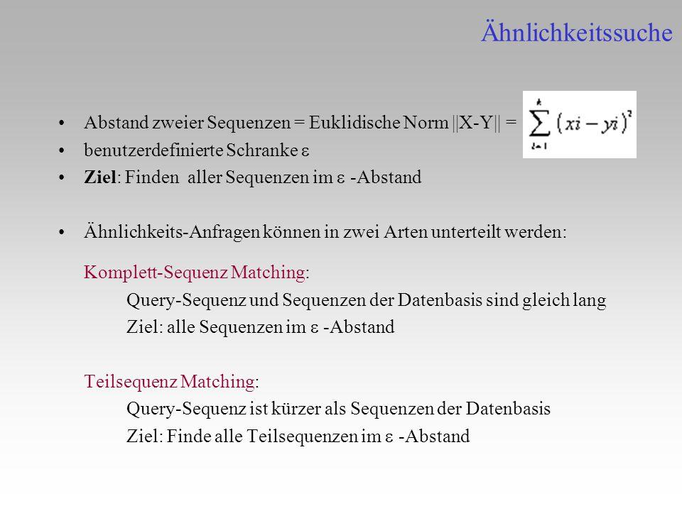 Ähnlichkeitssuche Abstand zweier Sequenzen = Euklidische Norm ||X-Y|| = benutzerdefinierte Schranke e.