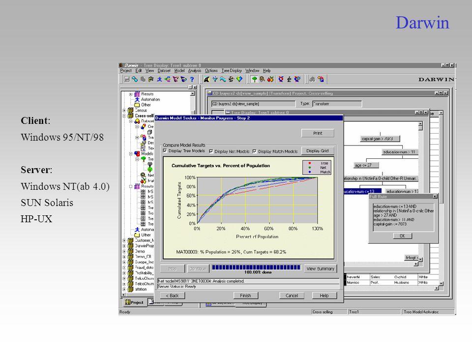 Darwin Client: Windows 95/NT/98 Server: Windows NT(ab 4.0) SUN Solaris