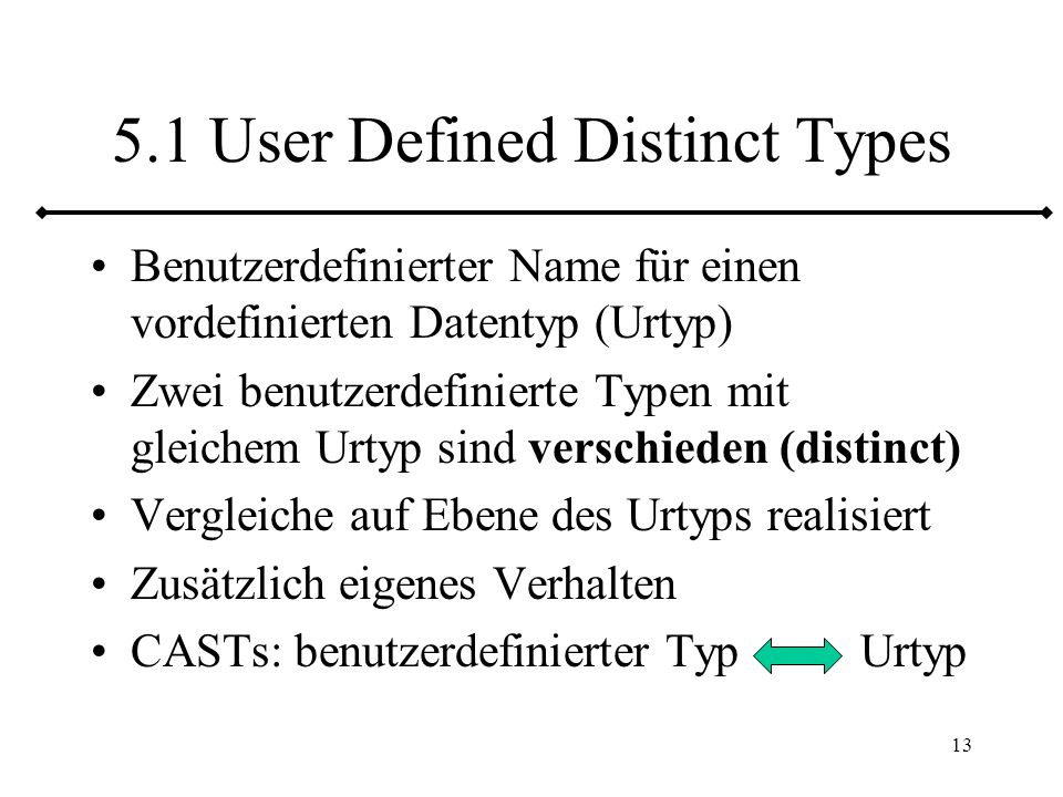 5.1 User Defined Distinct Types