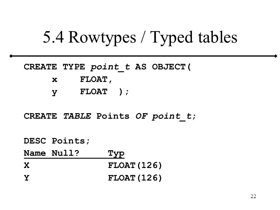 5.4 Rowtypes / Typed tables