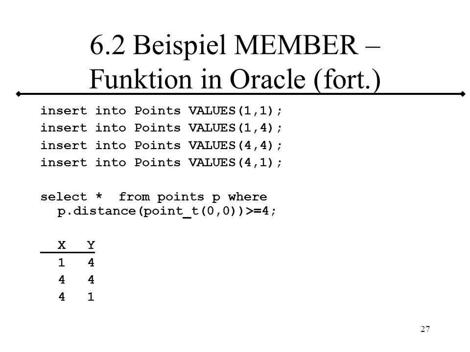 6.2 Beispiel MEMBER – Funktion in Oracle (fort.)