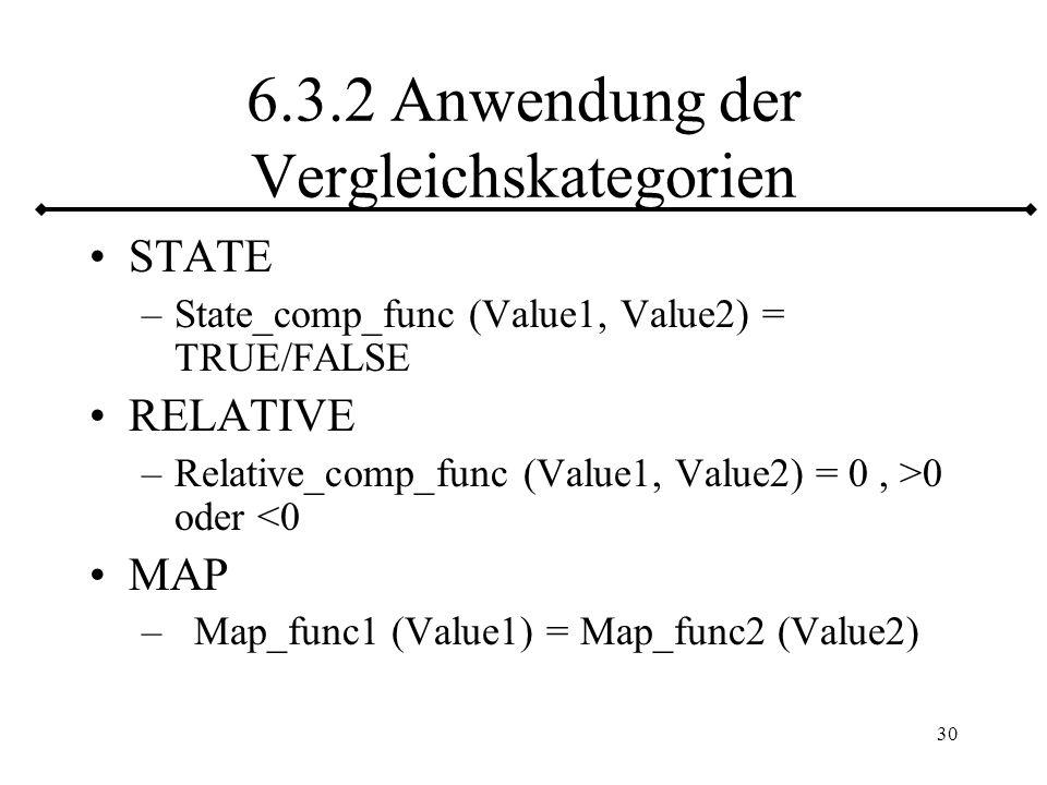 6.3.2 Anwendung der Vergleichskategorien