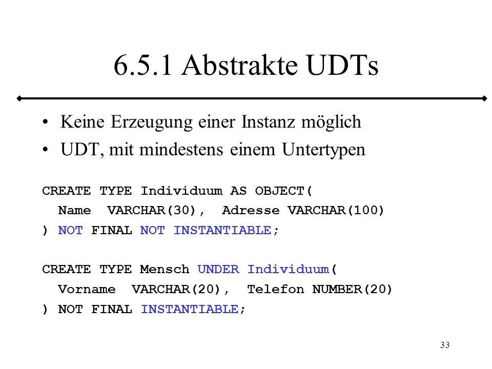 6.5.1 Abstrakte UDTs Keine Erzeugung einer Instanz möglich