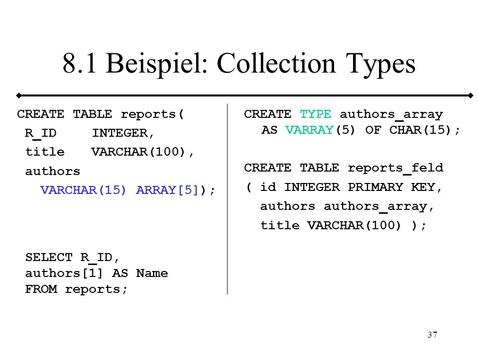 8.1 Beispiel: Collection Types