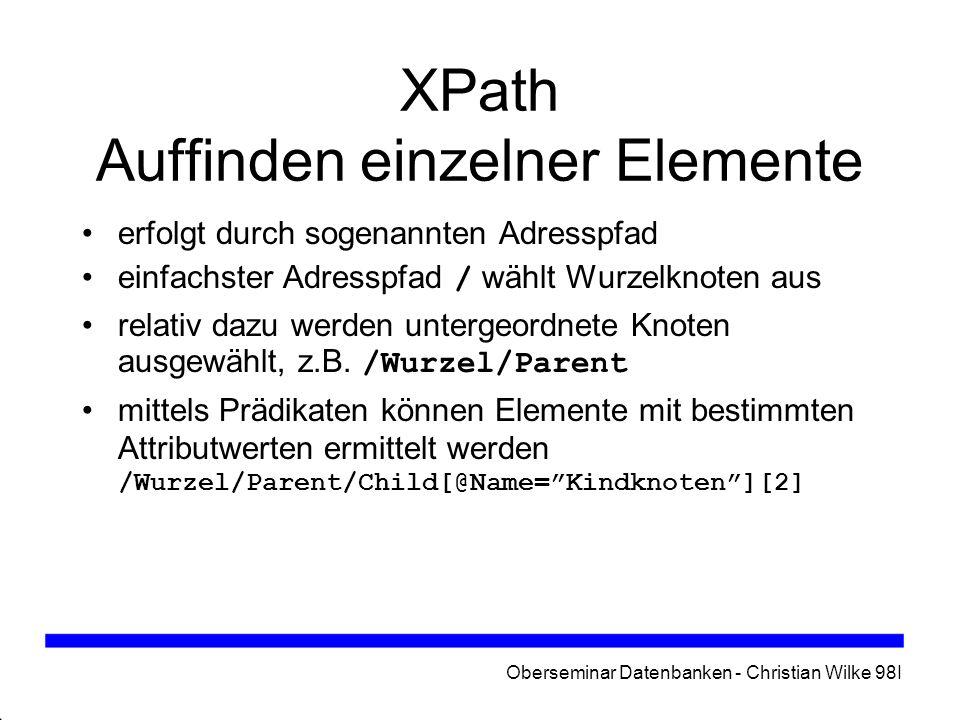 XPath Auffinden einzelner Elemente