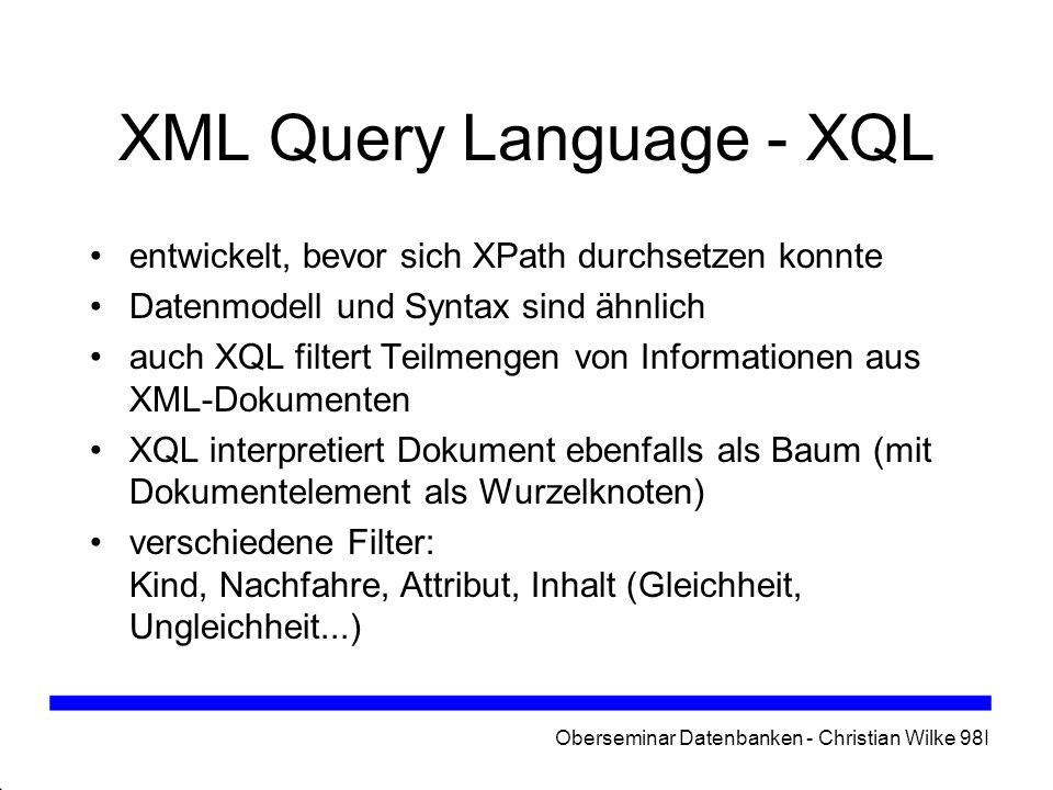 XML Query Language - XQL