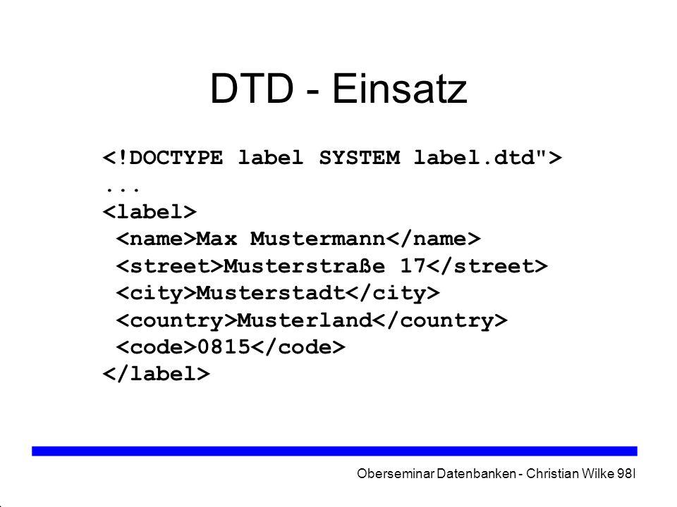 Oberseminar Datenbanken - Christian Wilke 98I
