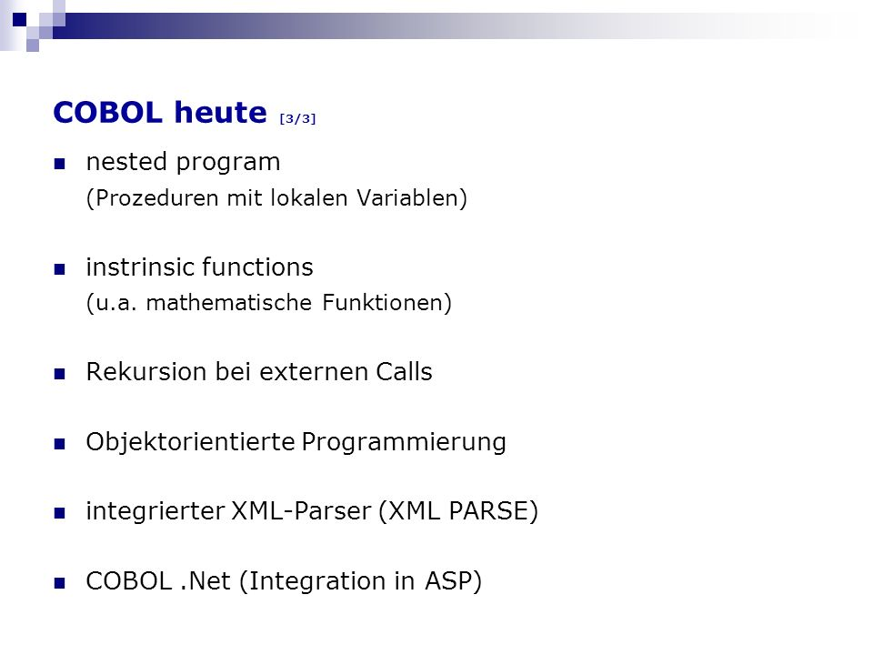 COBOL heute [3/3] nested program (Prozeduren mit lokalen Variablen)