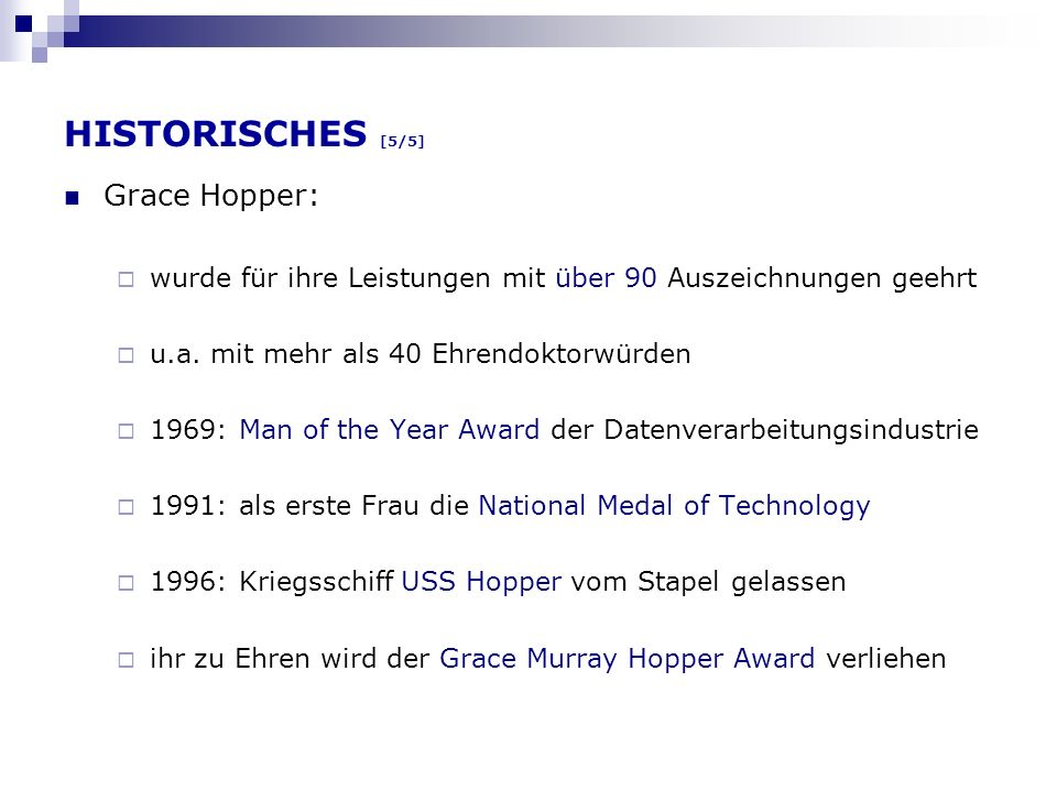 HISTORISCHES [5/5] Grace Hopper: