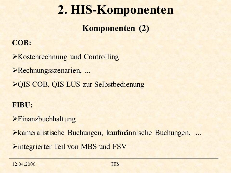 2. HIS-Komponenten Komponenten (2) COB: Kostenrechnung und Controlling