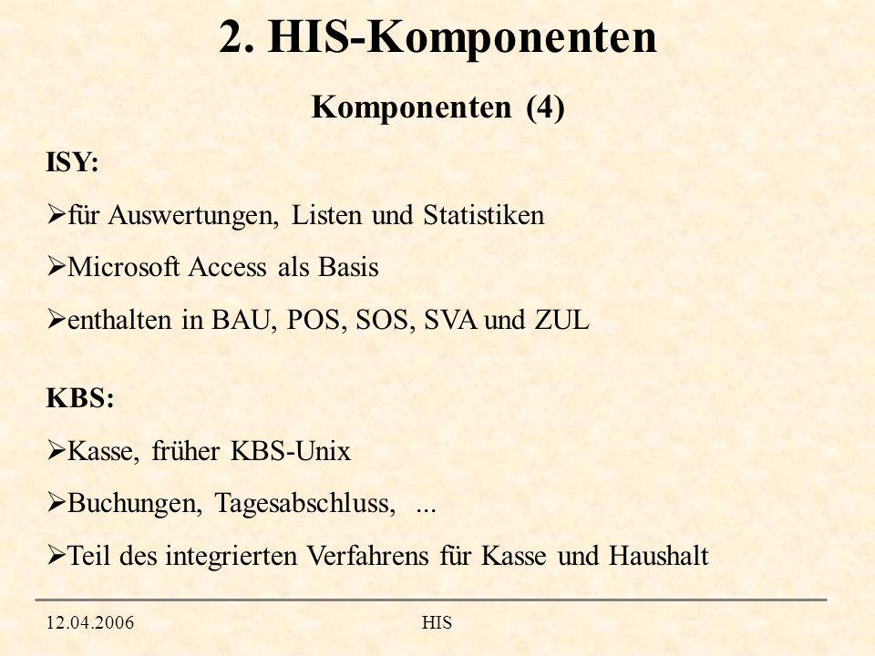 2. HIS-Komponenten Komponenten (4) ISY: