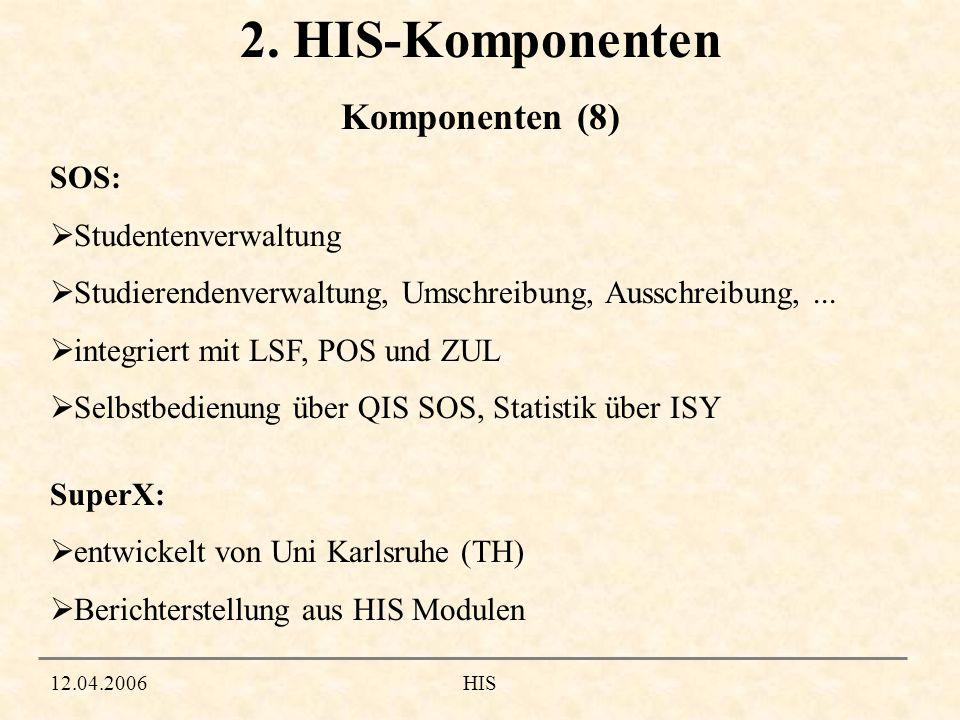 2. HIS-Komponenten Komponenten (8) SOS: Studentenverwaltung