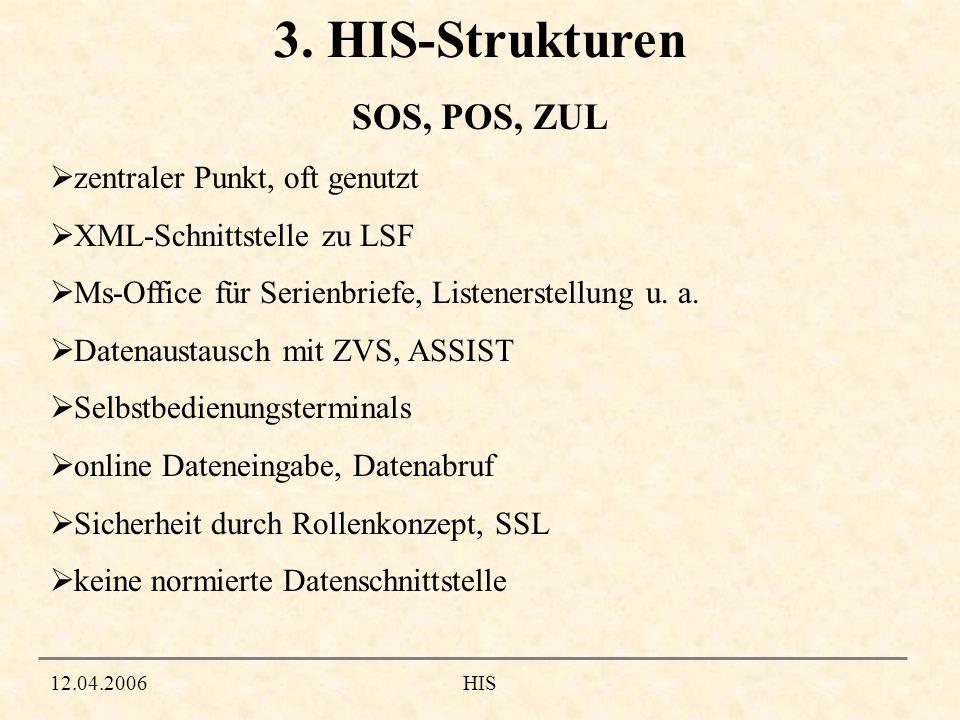 3. HIS-Strukturen SOS, POS, ZUL zentraler Punkt, oft genutzt
