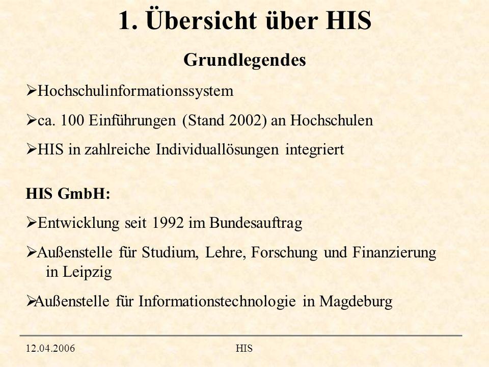 1. Übersicht über HIS Grundlegendes Hochschulinformationssystem