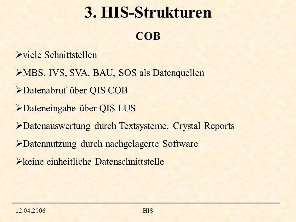 3. HIS-Strukturen COB viele Schnittstellen