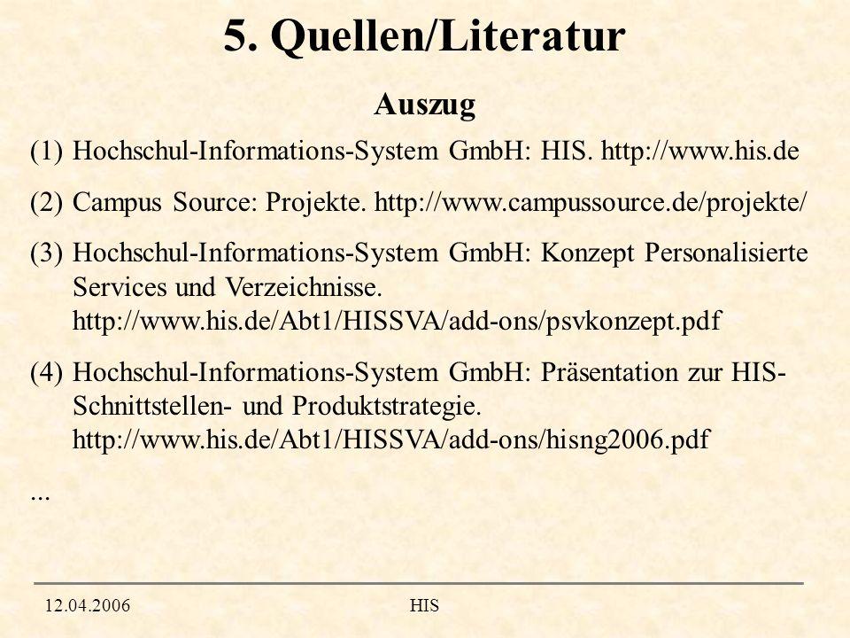 5. Quellen/Literatur Auszug