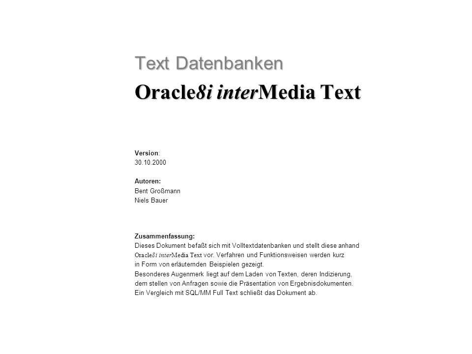 Oracle8i interMedia Text