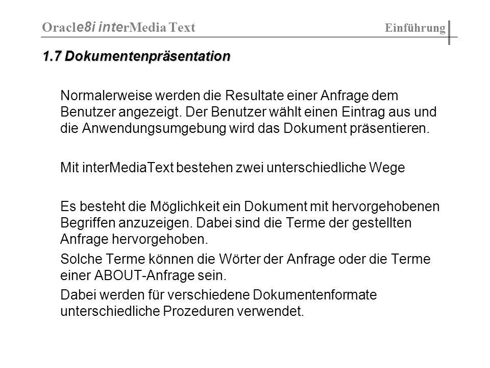 Oracle8i interMedia Text Einführung