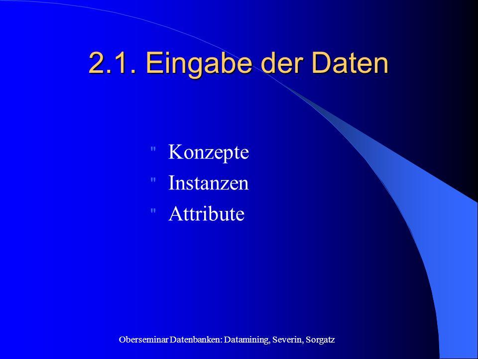 2.1. Eingabe der Daten Konzepte Instanzen Attribute