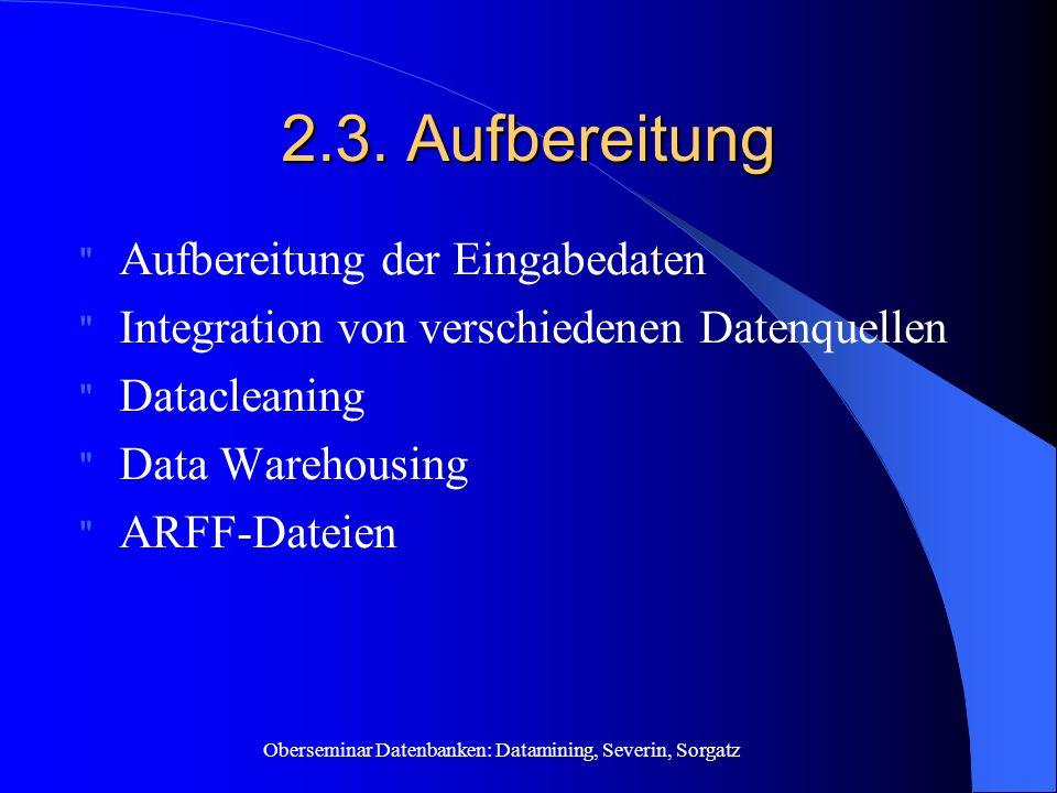 2.3. Aufbereitung Aufbereitung der Eingabedaten
