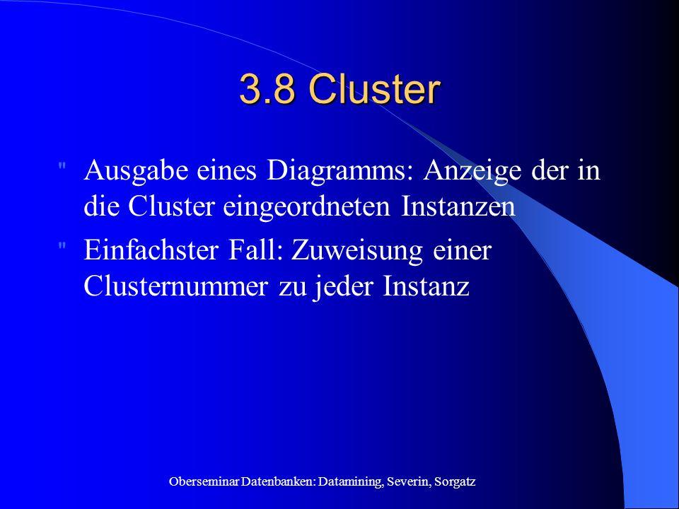 3.8 Cluster Ausgabe eines Diagramms: Anzeige der in die Cluster eingeordneten Instanzen.
