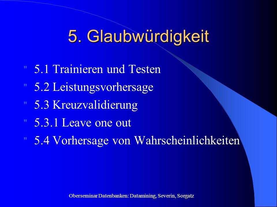 5. Glaubwürdigkeit 5.1 Trainieren und Testen 5.2 Leistungsvorhersage