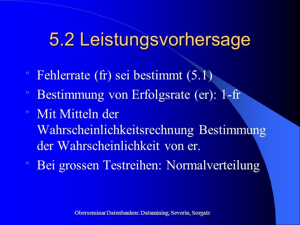 5.2 Leistungsvorhersage Fehlerrate (fr) sei bestimmt (5.1)