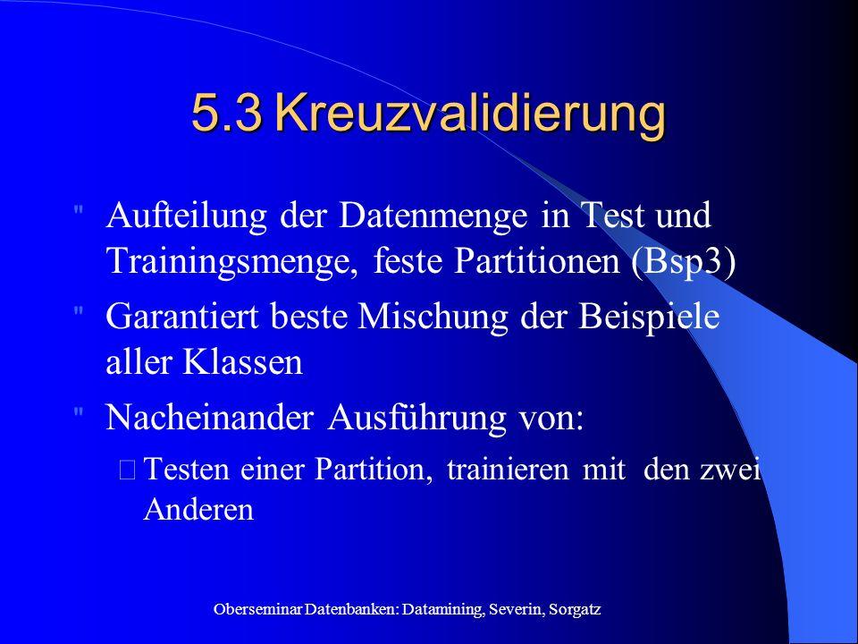5.3 Kreuzvalidierung Aufteilung der Datenmenge in Test und Trainingsmenge, feste Partitionen (Bsp3)