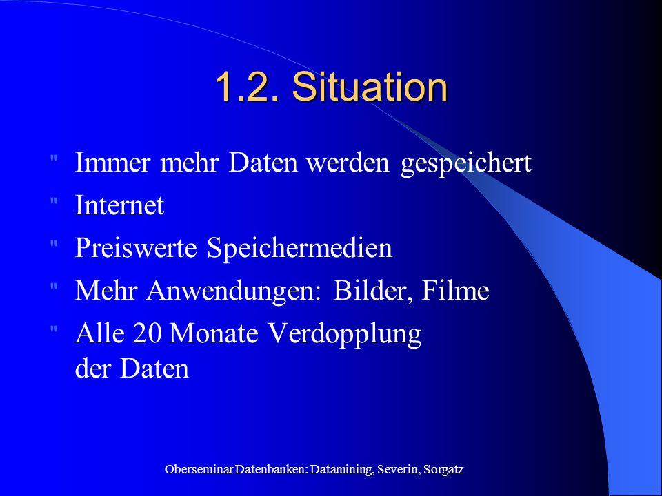 1.2. Situation Immer mehr Daten werden gespeichert Internet