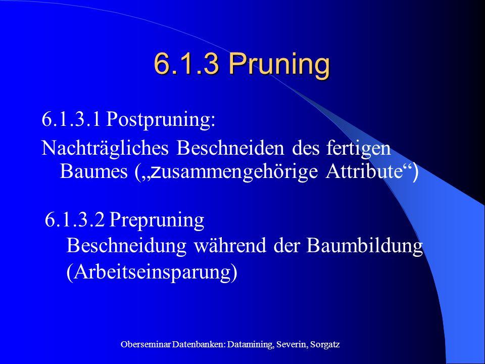 """6.1.3 Pruning 6.1.3.1 Postpruning: Nachträgliches Beschneiden des fertigen Baumes (""""zusammengehörige Attribute )"""