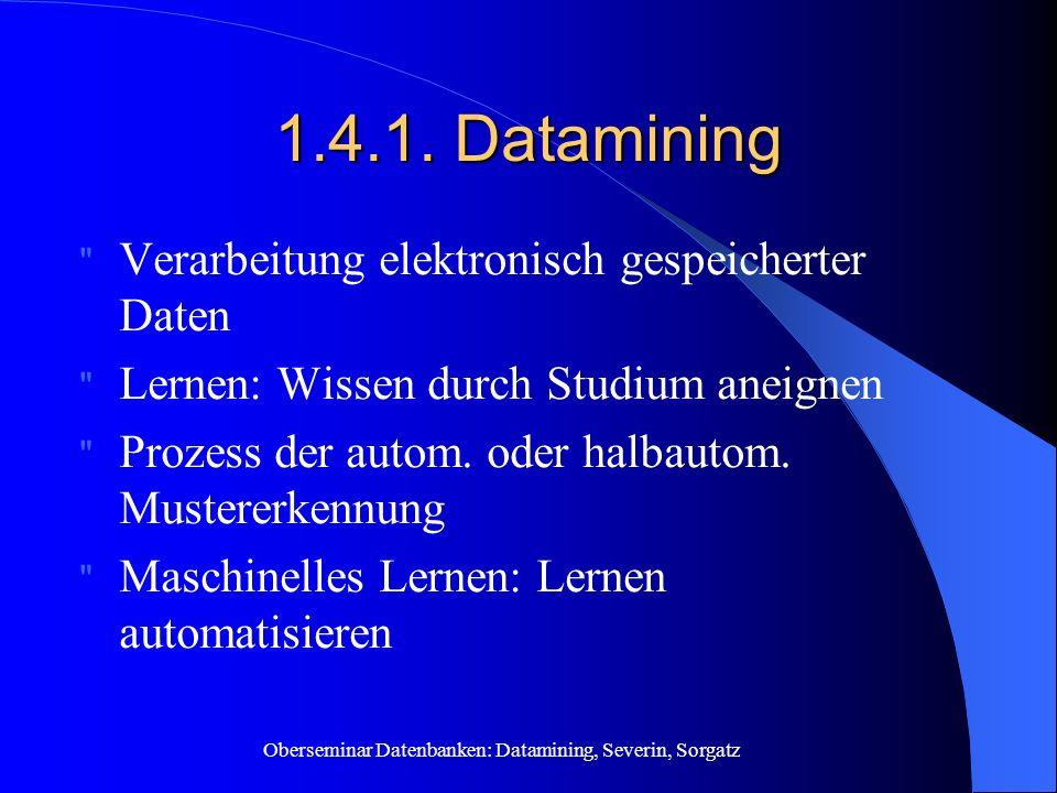 1.4.1. Datamining Verarbeitung elektronisch gespeicherter Daten