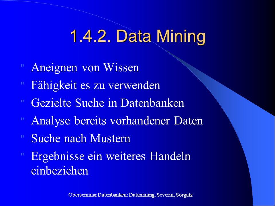 1.4.2. Data Mining Aneignen von Wissen Fähigkeit es zu verwenden
