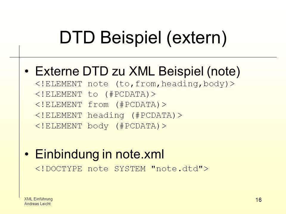 DTD Beispiel (extern) Externe DTD zu XML Beispiel (note)