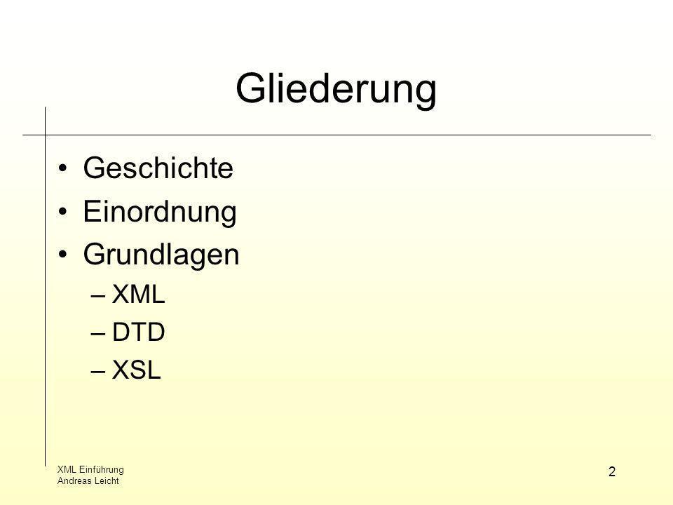 Gliederung Geschichte Einordnung Grundlagen XML DTD XSL XML Einführung